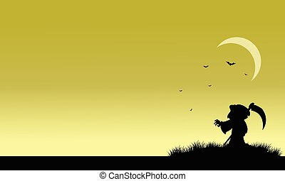 Silhouette of warlock and bat halloween illustration