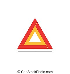 Car emergency sign vector icon, folding safety warning triangle isolated