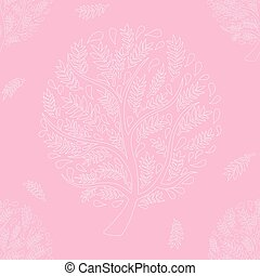 White Tree on Pink Background