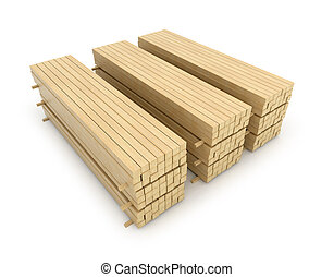 Wooden beams for the building on a white background 3D...