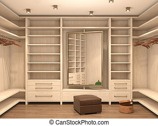 Empty white dressing room, interior of a modern house. 3d...