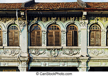 chinese malay colonial architecture in penang old town...