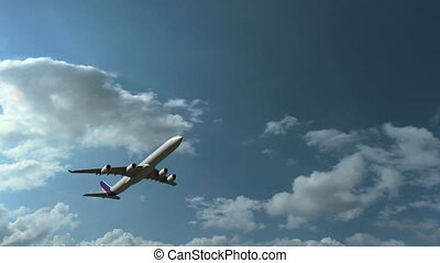 Airbus A340-600 airliner climbing against beautiful cloudy sky, no logo, 4K pan
