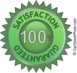 satisfaction guarantee - vector illustration of green label...