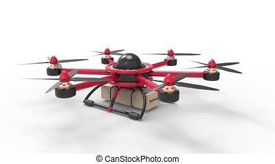 Red drone delivers the goods. Red hexacopter designed to carry.