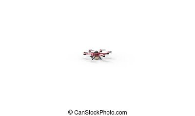 Red drone delivers the goods. Red hexacopter designed to carry. The future delivery of goods. The camera flies up to a drone at close distance.