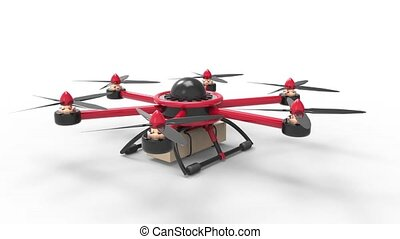 Red drone delivers the goods. Red hexacopter designed to...