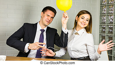 Business team selebrating success - Business woman and man...