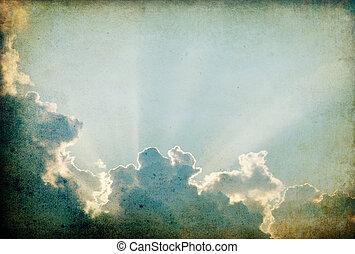 grungy, surreal, céu, fundo