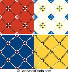 navy and nautical pattern theme, seamless pattern and...