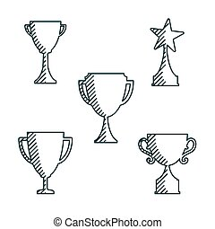 Trophy cup icons thin line style -variable line- flat design