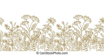 Seamless vector floral border with black white hand drawn herbs and wild flowers