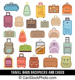 Travel bags backpacks and cases color vector icons. Bag and...