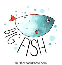 Vector illustration of turquoise fish with red fins and...