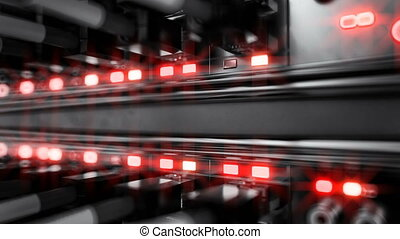 Lights and connections on network server. 4k 3d rendering -...