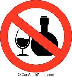 No alcohol sign - No alcohol vector sign