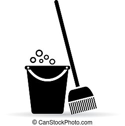 Cleaning tools icon isolated on white background