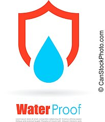 Waterproof vector logo isolated on white background