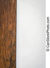 cemento, y, madera, pared, .,