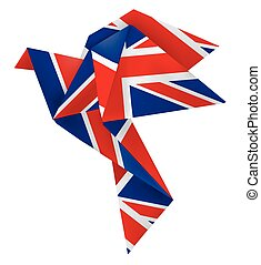 Origami dove brexit - Paper origami dove with English flag....