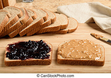 Peanut butter jelly sandwich - Making a peanut butter and...