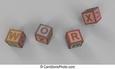 Falling toy bricks make up different words: word, text, read, lose, cube