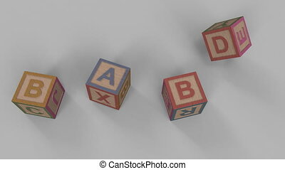 Falling toy bricks make up different words: baby, game,...