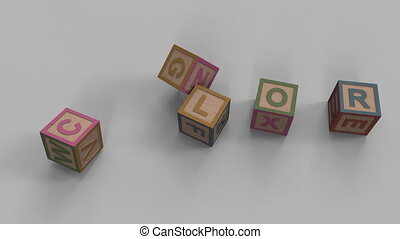 Falling toy bricks make up different words: color, learn,...