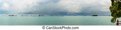 Panoramic view of the Singapore Strait from Sentosa Island....