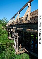 Wooden bridge.. Arkhangelsk region.