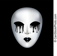 mysterious white mask - black background and a white...