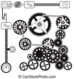 abstract cog - gears - Vector black illustration of abstract...