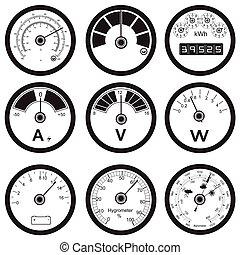 measuring instruments - Vector black illustration of...