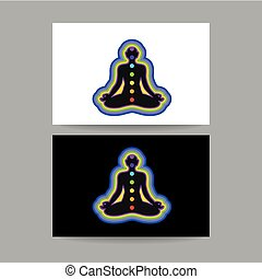 yoga chakra template - Human silhouette meditating with...