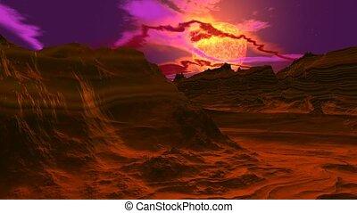 Titan surface - Sunset on titan landscape