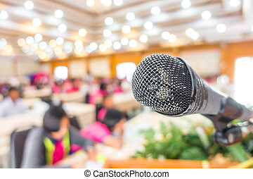 Old Black microphone in conference room - Old Black...