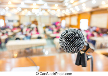 Black microphone in conference room - Black microphone in...
