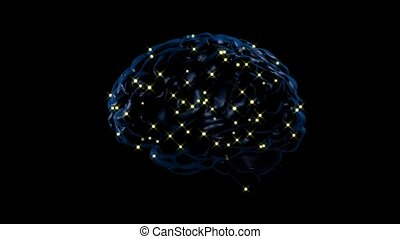 Brain activity - Brain with lights appearing in various...