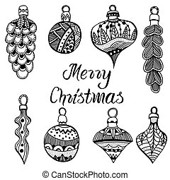 Set of christmas toys Hand drawn doodle Vector illustration...