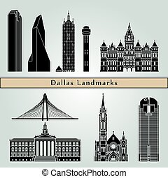 Dallas landmarks and monuments isolated on blue background...