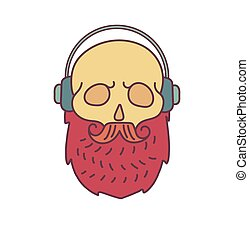 Skull with Hipster mustache,music headphones and beards