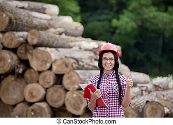 Lumber industry engineer - Young pretty female lumber...