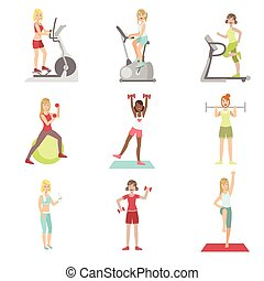 Women Training In Gym Set Of Simple Cartoon Flat Vector...