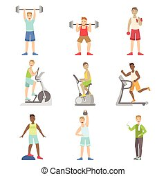 Men Training In Gym Set Of Simple Cartoon Flat Vector...