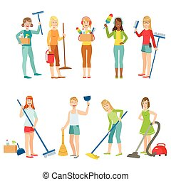 Adult People Cleaning Up Indoors Set Of Simple Cartoon Flat...
