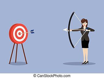 Business woman hitting the target