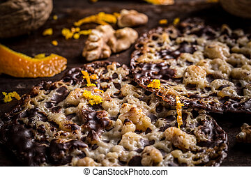Polish Florentine cookies with candied orange peel and nuts