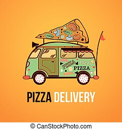 Car fast food - Pizza food truck city car Food delivery car...
