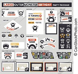 monster Birthday Party - Large Outer monster Birthday Party...