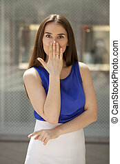 Blow kiss, young caucasian brunette woman - Blow kiss, young...